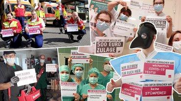 Collage aus Bildern der Fotoaktion: Beschäftigte mit Plakaten