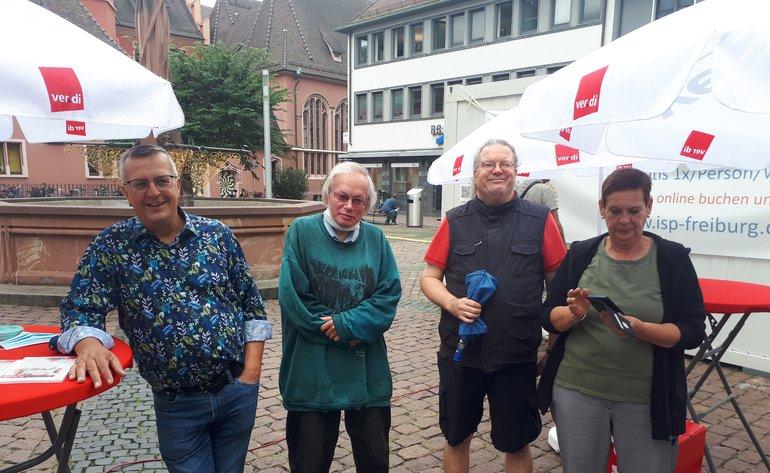 Infostand des Arbeitskreis Erwerbslose am 10.09.2021 in Freiburg